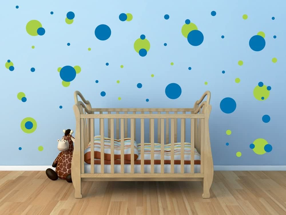 106 Polka Dots LIME GREEN and BLUE Vinyl Wall Decals Quotes Sayings Words Art Decor Lettering Vinyl Wall Art Inspirational Uplifting