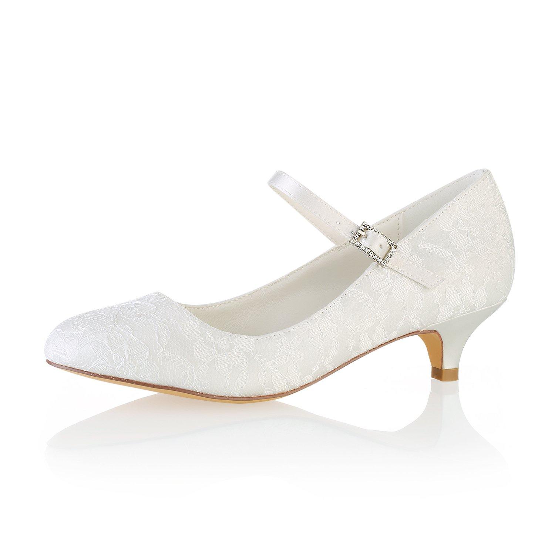 f8b4d73de038 Emily Bridal Wedding Shoes Lace Wedding Shoes Round Toe Mary Jane Bridal  Shoes Kitten Heel Mother Shoes  Amazon.co.uk  Shoes   Bags