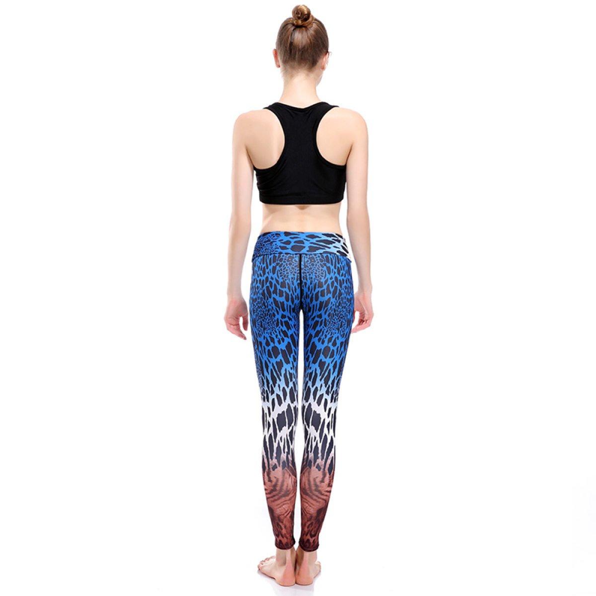 5217bc07088b PXUDB Women's Fashion Blue Leopard Printed Stretch Sport Yoga Elasticity  Leggings Slimming Workout Tights Quick Dry Pencil Pants,085-XXXL:  Amazon.co.uk: ...