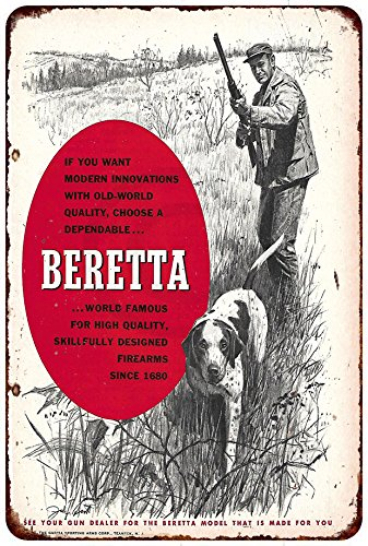 Beretta Firearms Hunting Dob Vintage Ad Reproduction Metal Sign 8 x ()