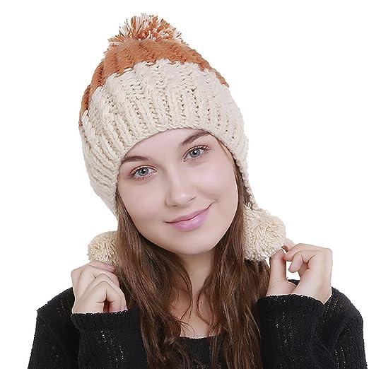b567732b60779 Smallrabbit Knit Beanie Hat Womens Ear Flap Color Block Soft Warm Winter  Hats Knit Hats Pom
