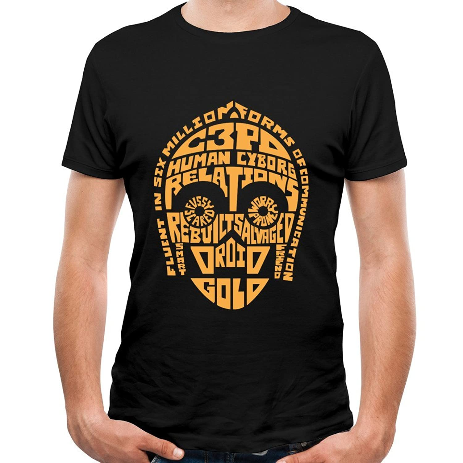 Loly Brand Men's C-3PO Quotes Movie Poster Classic Short Sleeve