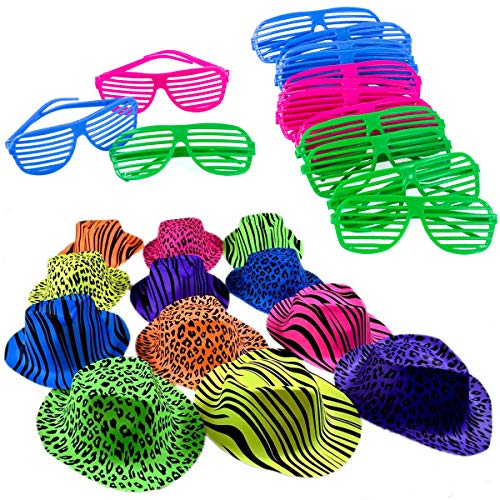 Neon Bright Party Set-12 Neon Gangster Hats with 12 Neon Shutter Glasses by Funny Party Hats