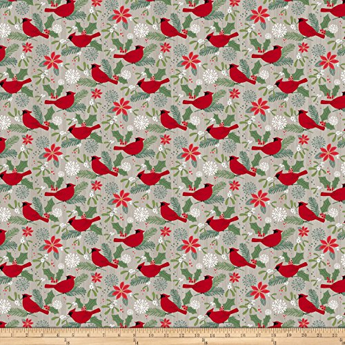 Northcott Swedish Christmas Red Cardinals Light Grey Fabric by The Yard
