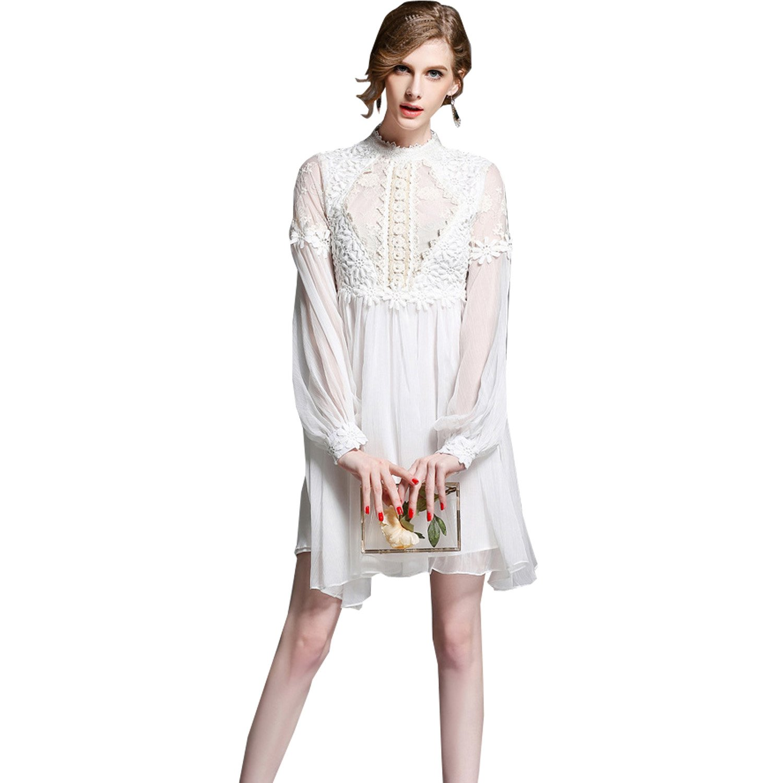 dressvip Round Neck Lantern Sleeves White Lace Embroidery Prom Dress Short