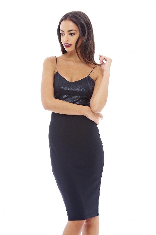 AX Paris Women's Strappy PU Detail Midi Dress