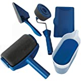 Jeda 5Pcs/Set Paint Roller Runner Pro Brush Handle Flocked Edger Kit for Home Office Building Wall Painting(Aluminum pipe not included)