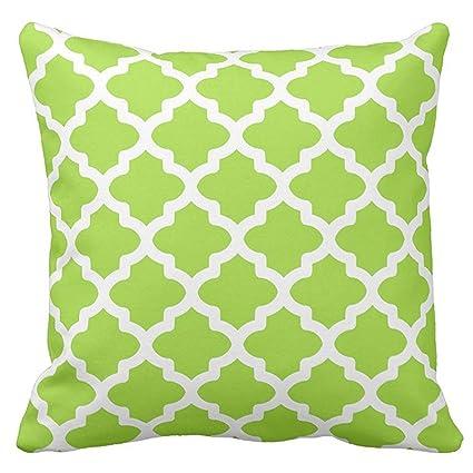 Amazon Com Decorative Square Lime Green Moroccan Quatrefoil Pattern