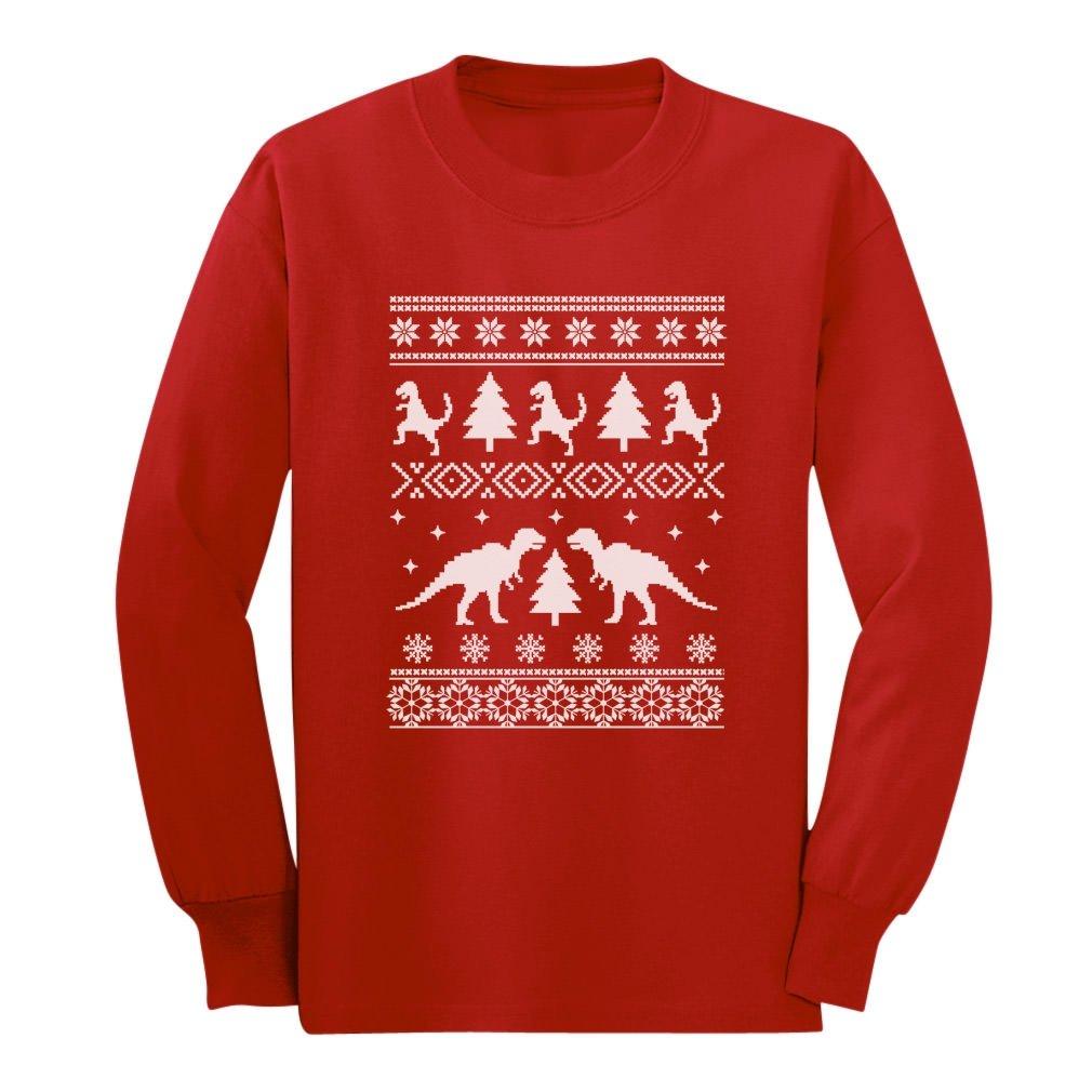 Amazon.com: Tstars - Ugly Christmas Sweater Trex Long Sleeve Kids T ...
