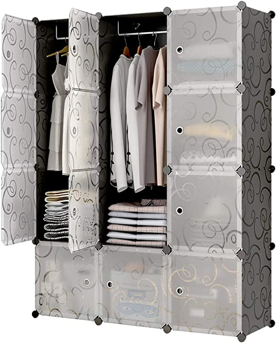 6 Cubes Storage Organizer JYYG Portable Wardrobe Closets 14x18 Depth Bedroom Armoire 2 Hangers