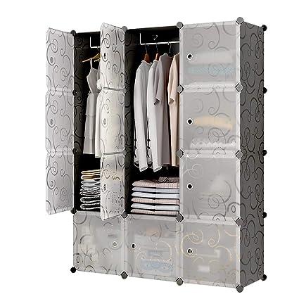 Gentil Amazon.com: KOUSI Portable Closet Clothes Wardrobe Bedroom Armoire Storage  Organizer With Doors, Capacious U0026 Sturdy, Black (6 Cubesu00262 Hanging  Sections): ...