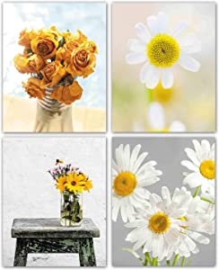 """Modern Art Abstract Yellow Daisy Flower Painting Set of 4 Pieces (8""""X10""""Canvas Picture) Dining Room Kitchen Office Living Room Bedroom Home Decor Art Prints Unframed"""