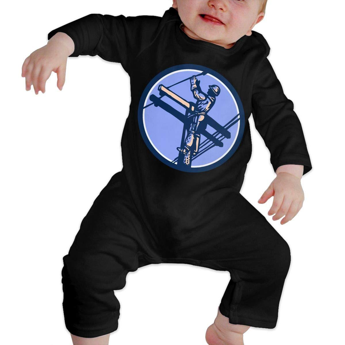 YUE--3BODY A Power Lineman Toddler Baby Boy Girl Long Sleeve Infant Bodysuit