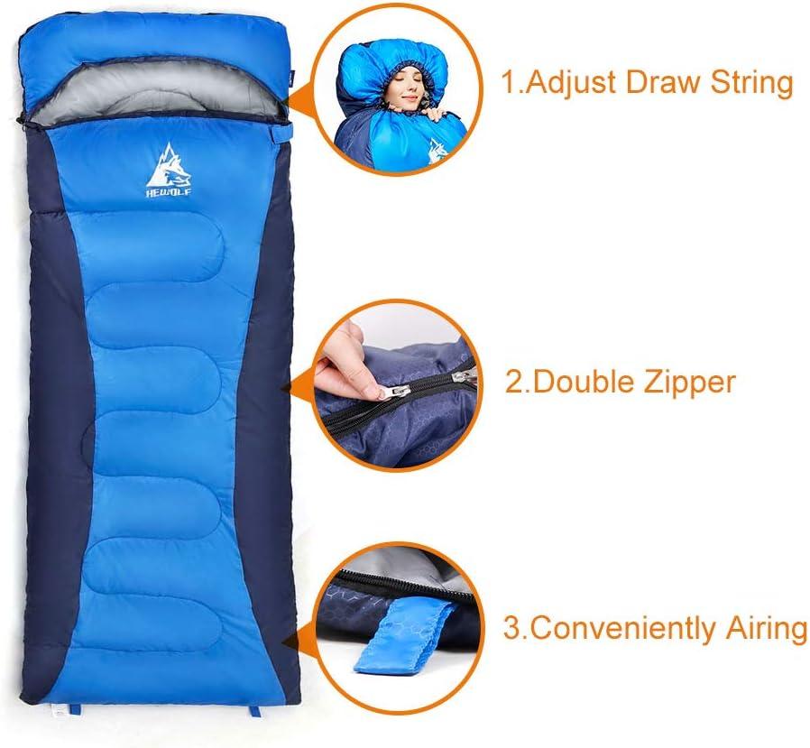 1.8KG Hewolf Sleeping Bag for Camping Adult -Left Zip Lightweight Compact Waterproof Sleeping Bag for Backpacking Hiking Blue, 5℃-10℃-