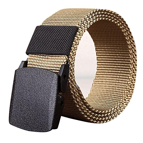 Mens Belt! Charberry Canvas Belt Outdoor Sports Nylon Waistband Canvas Web Belt Dazzling (140, Khaki) from Charberry