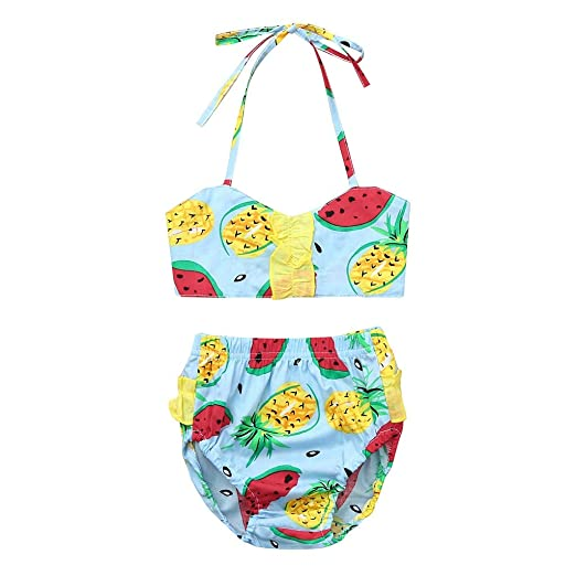 Newest Kids Girl Fruit Swimwear Children 2 Pieces Swimsuit Girls With Watermelon Print Sling Swim Wear 2-6yrs Cheap Sales Swimwear