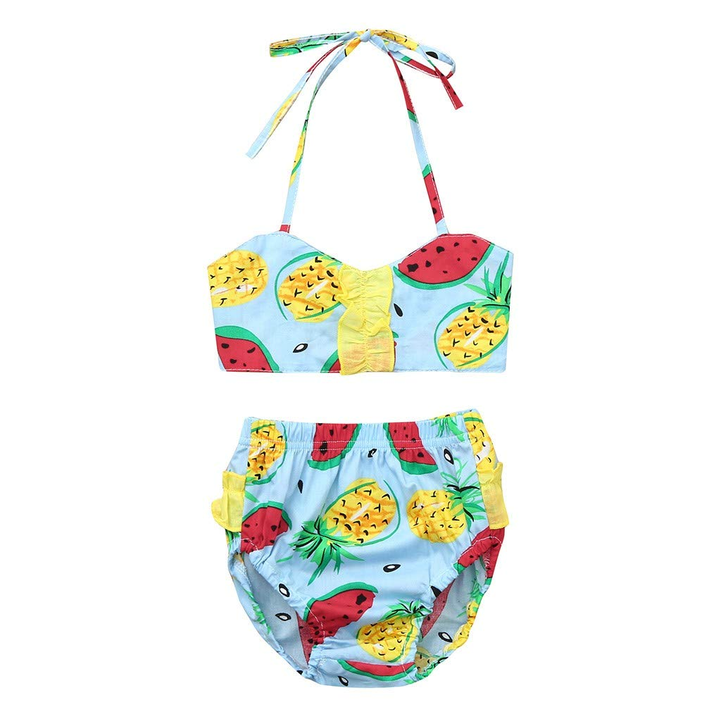 Nevera Outfit Toddler Kids Baby Girl Watermelon Pineapple Print Romper Dress High Waist Clothes Blue