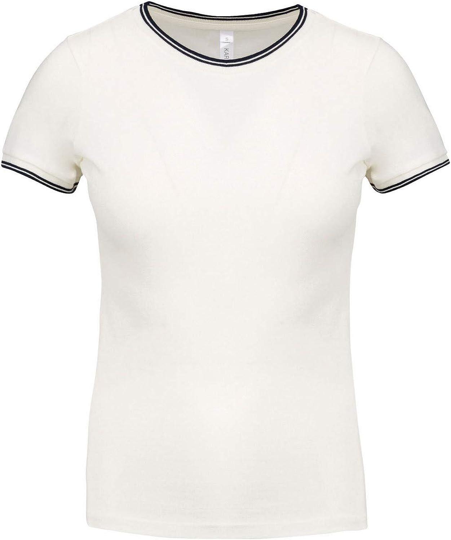 Kariban - Camiseta piqué de Cuello Redondo Acanalado para Mujer señora (XS) (Blanco Roto/Azul Marino): Amazon.es: Ropa y accesorios