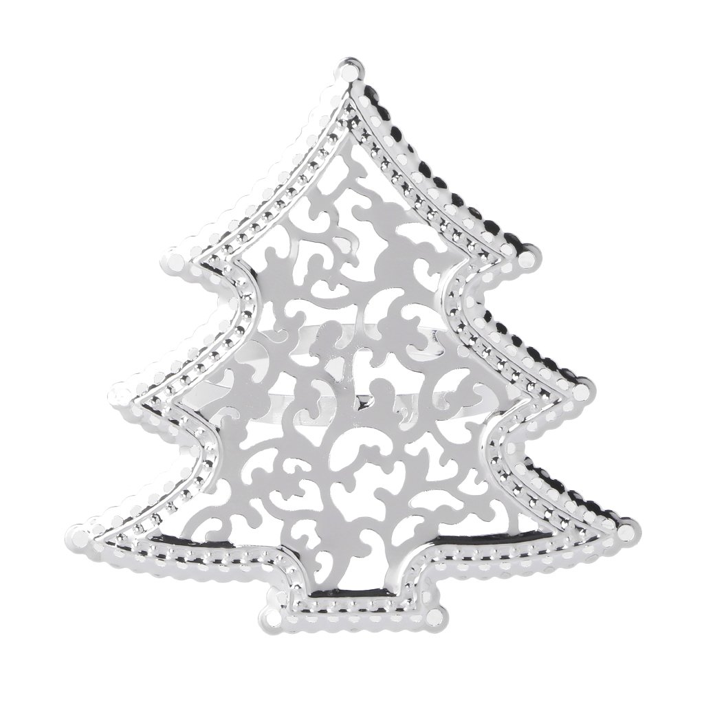 Yziss 1Pc Christmas Tree Napkin Ring Decoration Favors Napkin Wrappers Tealight Candles Silver Serviette Buckle Holder Wedding Dinner