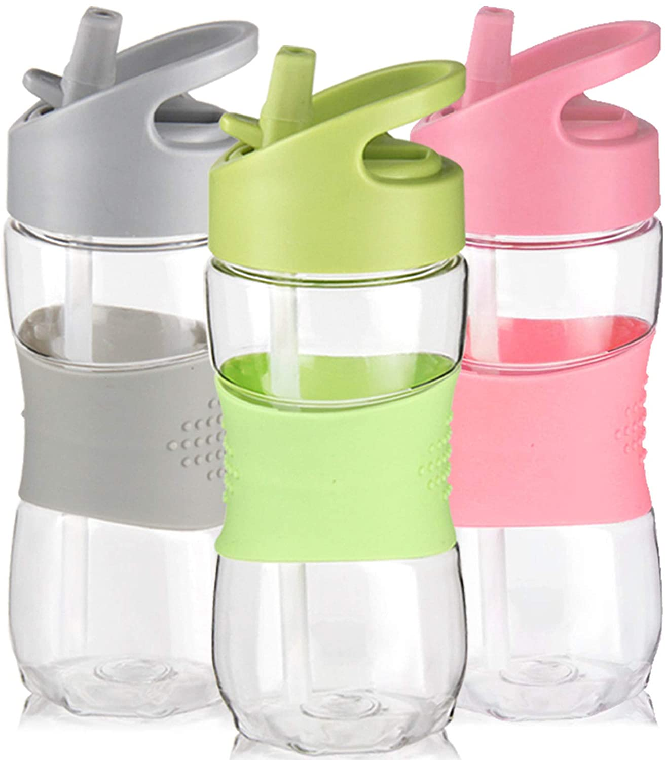 Portable Sport Water Bottle with Straw Plastic BPA Free Leakproof Drinks Mugs C0
