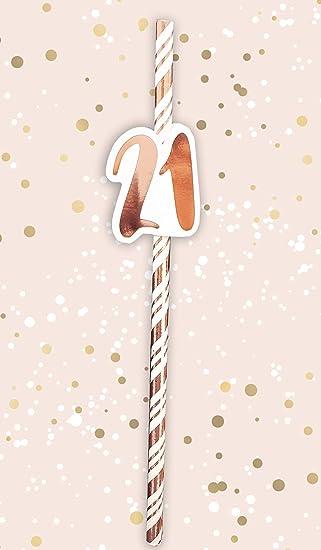 Alandra Cumpleaños STRAW-21 21st Pajitas de cumpleaños Crema ...