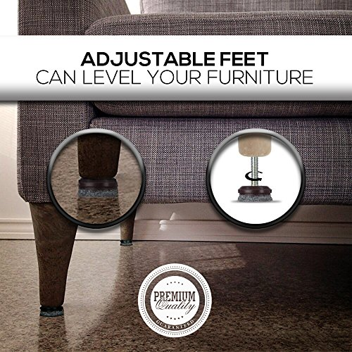 Furniture Levelers- Adjustable felt-bottomed pads for table, chair, and furniture legs-Pack of 8 with durable metal T-nut-Heavy Duty threaded furniture glides- Hardwood floor protectors- leveling feet by K-DUB Supply (Image #1)
