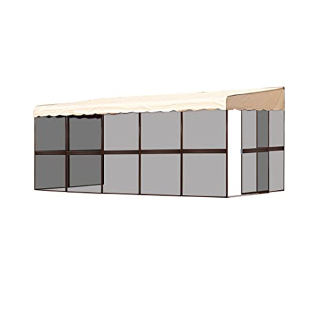 Patio Mate 9 Panel Screen Enclosure Model 99165 Brown With Almond Roof  Canopy