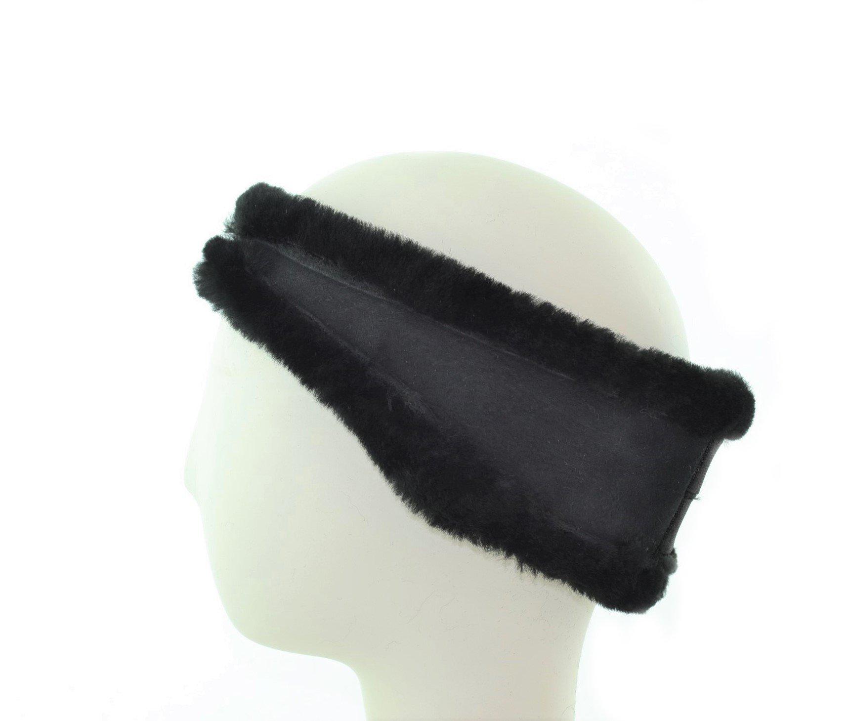 Surell Genuine Soft Black Shearling Headband - Winter Fashion Sheepskin Ear Warmers - Perfect Elegant Women's Luxury Gift