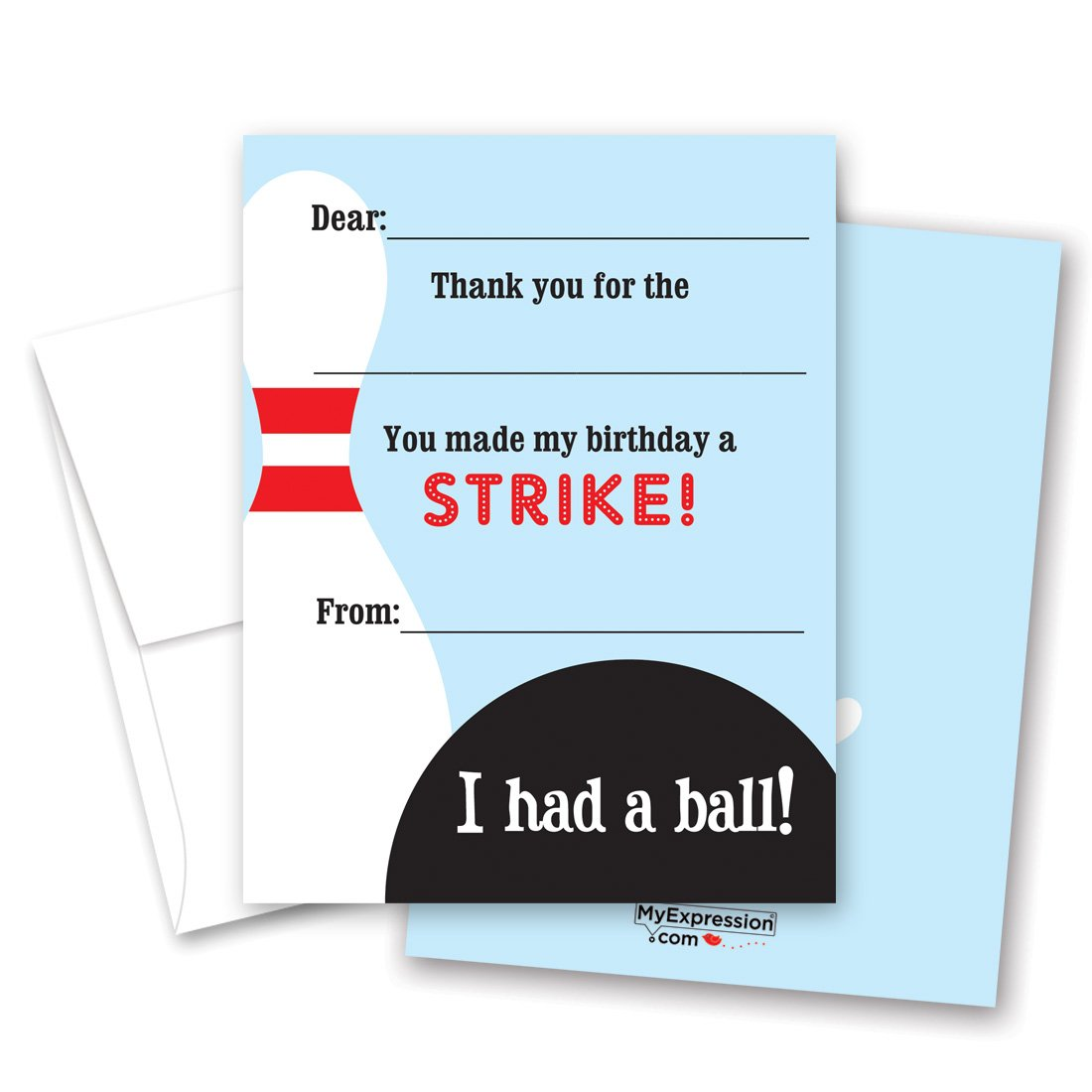 20 Fun Bowling Fill in Children Birthday Thank You Cards
