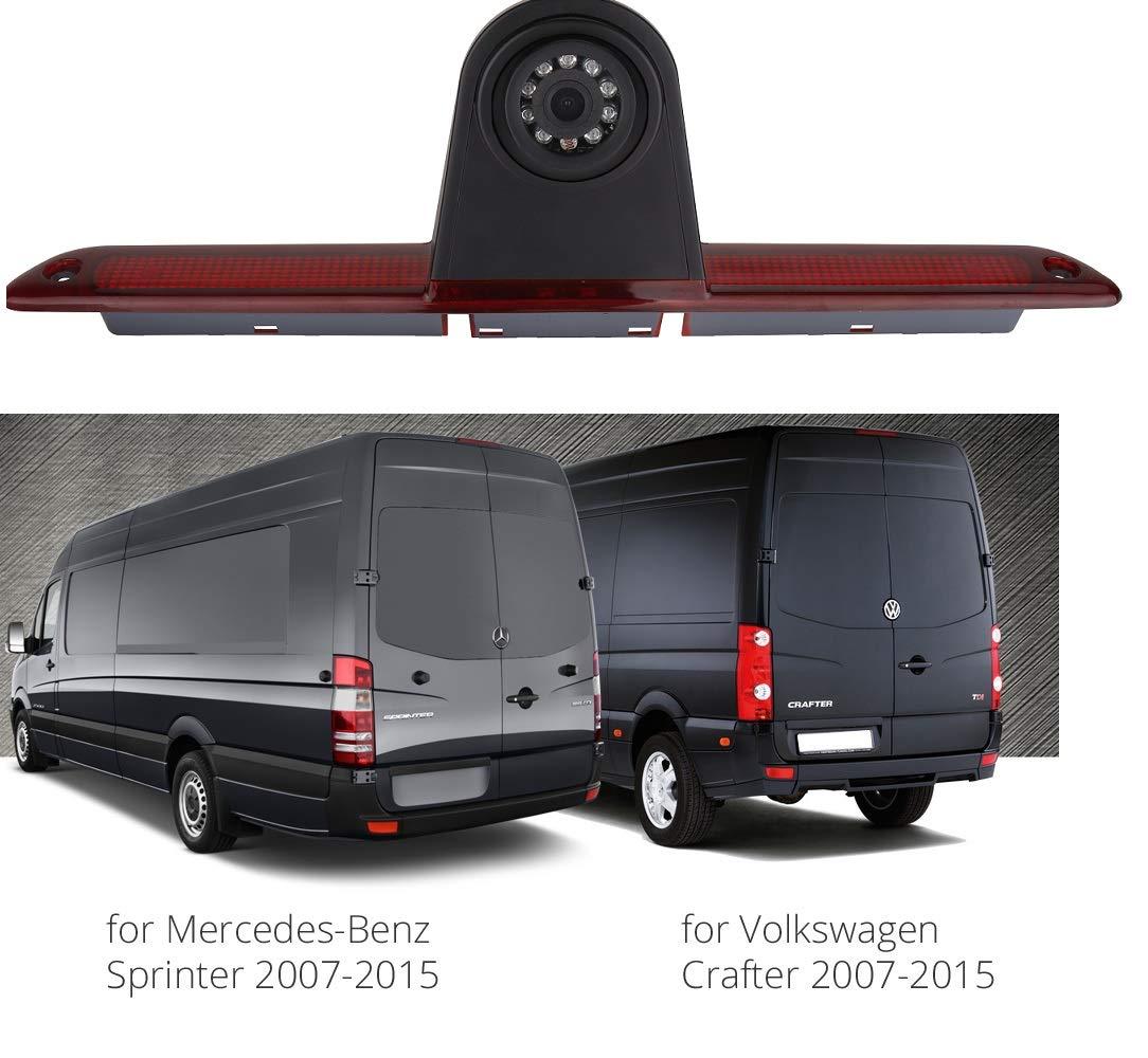 Third Roof Top Mount Brake Light Brake Light Rear Backup Reversing Camera With 4.3 inch Dash Mounted Monitor for Van Mercedes Sprinter 1500 2500 W906//VW Crafter Transporter
