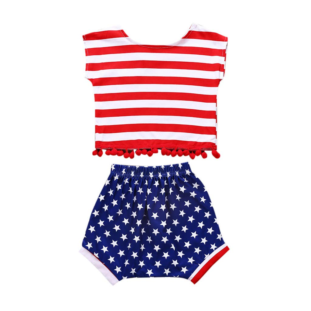 Bohelly ♚♚ 2Pcs Baby Boy Girl Star Striped Shirt + Shorts July 4th American Independence Day Clothing Set Red