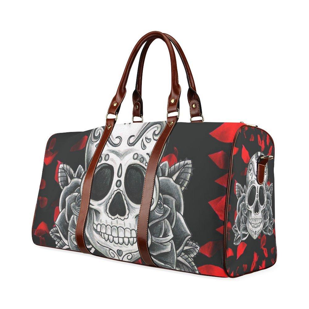 Custom Sugar Skull Rose Waterproof Travel Tote Bag Duffel Bag Crossbody Luggage handbag