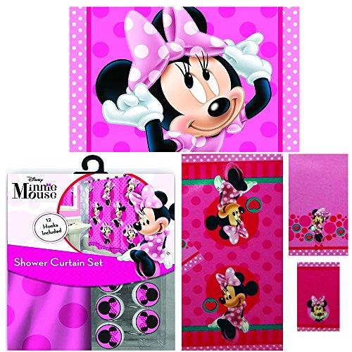 Disney Marvel New Shower Curtain & Hooks & Bath Towel & Memory Foam Mat Set (Minnie Mouse, 17pcs Set)