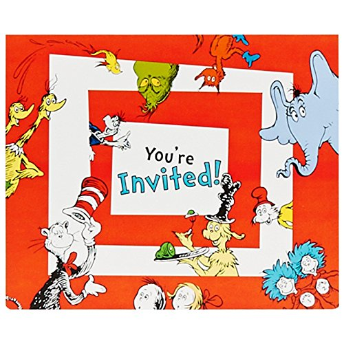 Dr Seuss Party Supplies - Invitations (8) (Seuss Invitations)