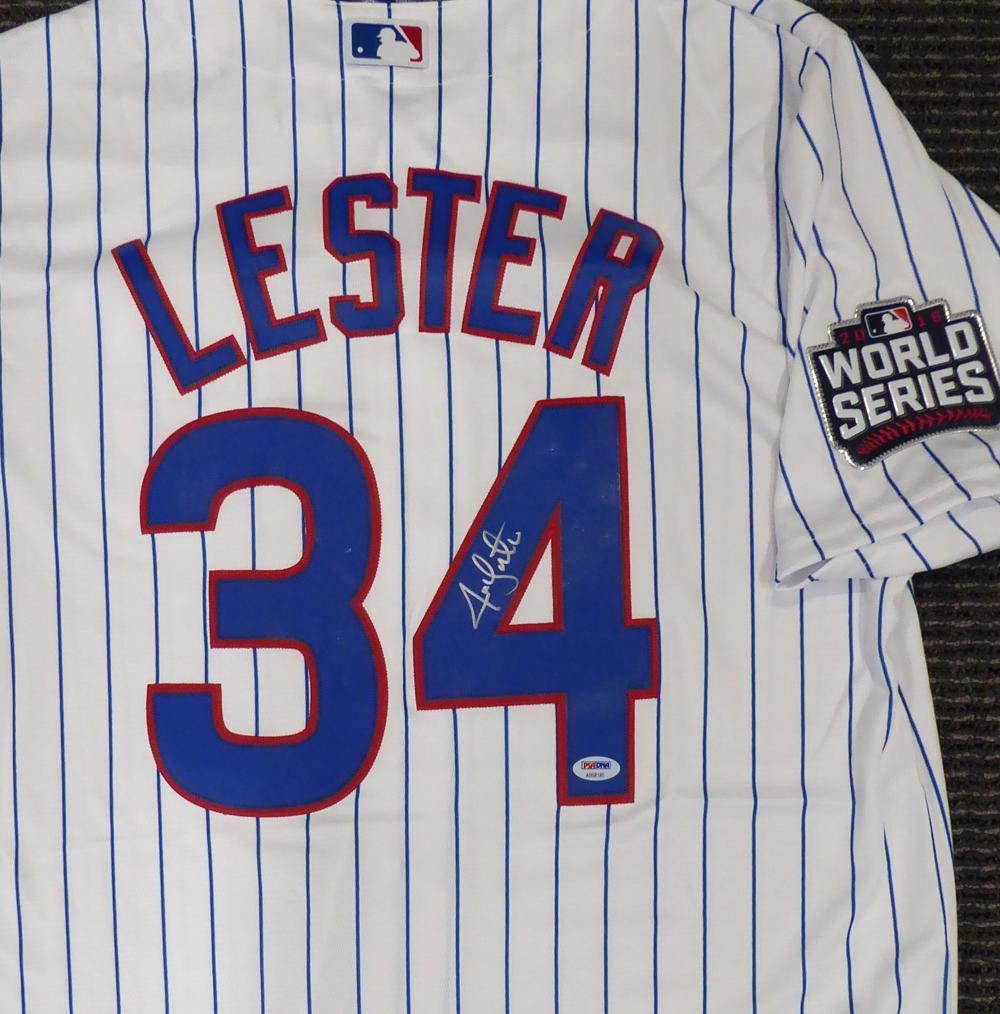 Signed Jon Lester Jersey - White Majestic Cool Base 2016 World Series Patch Size L Stock #135370 - PSA/DNA Certified Mill Creek Sports