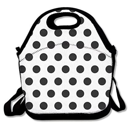 44014ba54d61 Amazon.com - COLOMAKE Black Polka Dot Pattern Lunch Bag Insulated ...