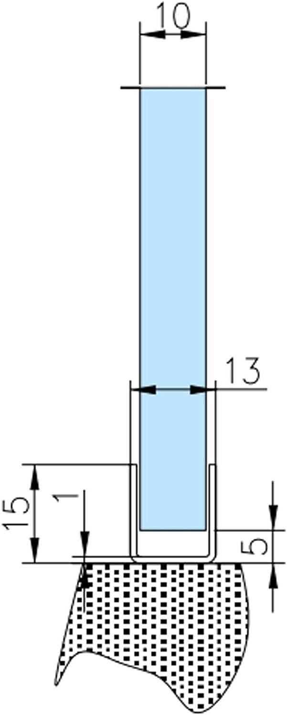 Perfil en U de acero inoxidable para mampara de ducha de 2200 mm ...