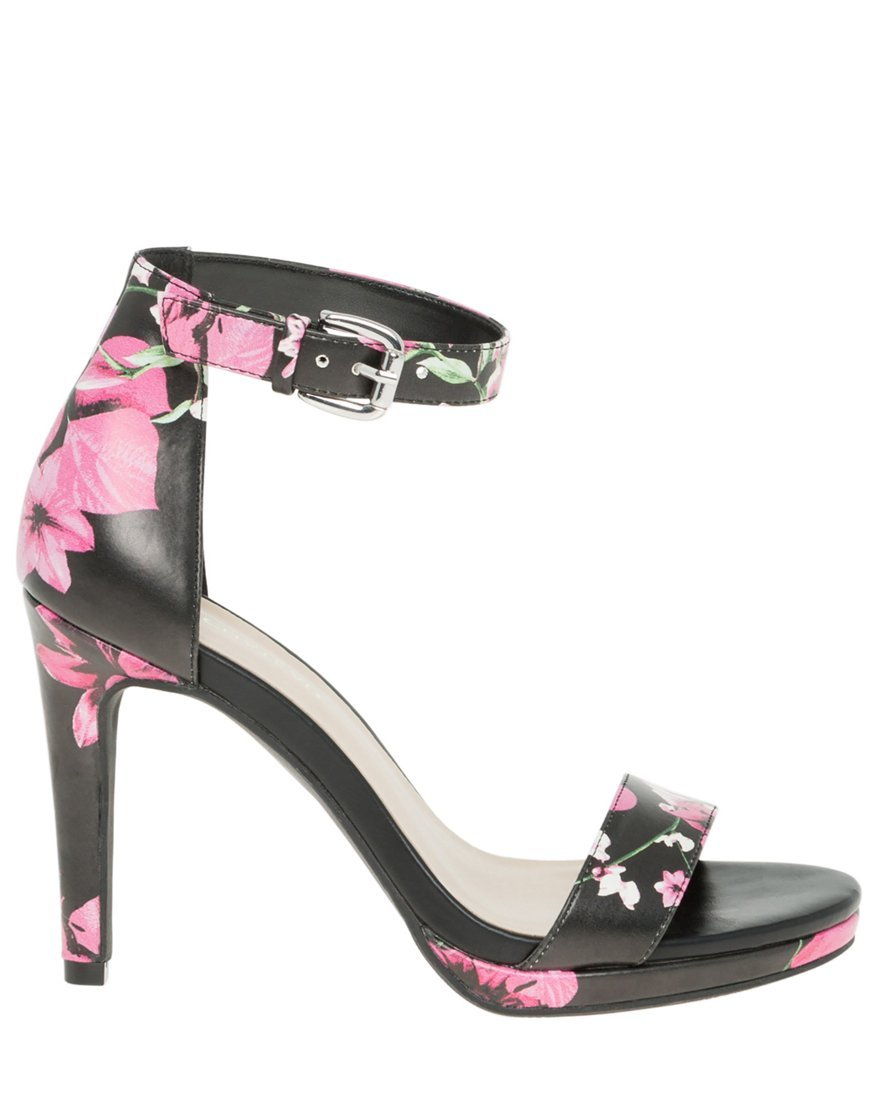 LE CHÂTEAU Women's Floral Leather-Like Ankle Strap Heeled Sandal,38,Multi-Coloured