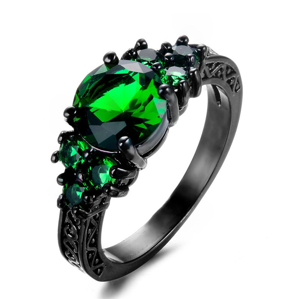Jewel Round Green Zircon Black Gold Filled Ring Vintage Jewelry for Women Wedding Engagement Rings FJT