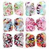 YHXX YLEN 6 Pcs 8 Inch Large Unicorn Bow Hairpin Girls Bows With Clip Hair Bows (Style 3)