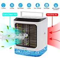 CLARE RARE Mini Air Conditioner Fan, 4 in 1 Small Personal USB Evaporative Cooler Mini Air Purifier Humidifier, Air Cooler Desk Fan Cooling with Portable Handle for Home Room Office (White)