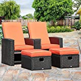 Tangkula 3 PCS Patio Adjustable Backrest Rattan Sofa Ottoman Furniture Set Outdoor Garden Lawn Conversation Sofa Furniture Set w/Cushions Foot Rest Stool
