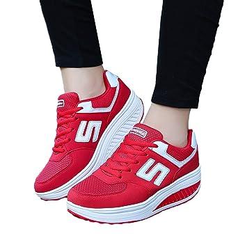 ❤ Zapatillas de Deporte para Las Mujeres Fondo Grueso, Mujeres Ocio Punta Redonda de Fondo Grueso Zapatillas Deportivas Plataforma Inferior señoras ...