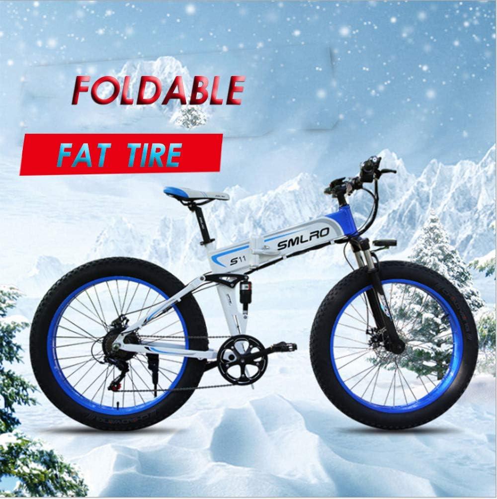 XXCY Bicicleta Plegable,Bicicleta Eléctrica, Neumático De Grasa De 26 Pulgadas, Motor 48v 1000w, Batería De Litio Móvil, Shimano 7 Velocidades (Blue): Amazon.es: Deportes y aire libre