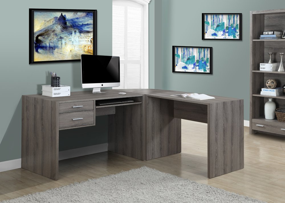 Amazon.com: Monarch Specialties Dark Taupe Reclaimed Look Computer Desk:  Kitchen U0026 Dining