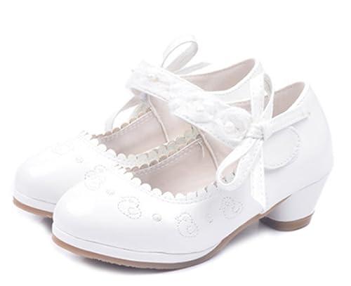 YOGLY Zapatos de Niña Princesa Casual Tacón Alto Zapatos de Fiesta Niñas  Zapatilla de Baile Blanco  Amazon.es  Zapatos y complementos ba469a728ee4