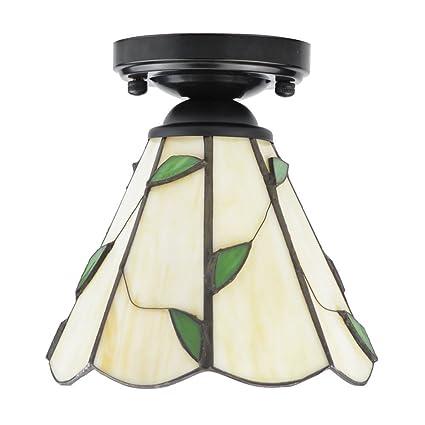 ZHMA Estilo de Tiffany lámpara de techo, 15cm Lamparas Tiffany para ...