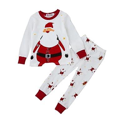 Covermason Niñas y niño Navidad Pijama Conjunto, Lindo Santa Claus Impresión Camiseta + Pantalones para