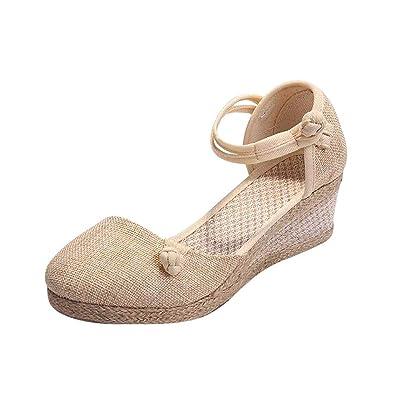 2c1457912de037 Minetom Espadrille Femme Mode Sandales Compensées Talon Plateforme Lanière  Cheville Chic Boucle Sandale Elegantes Talons Hauts