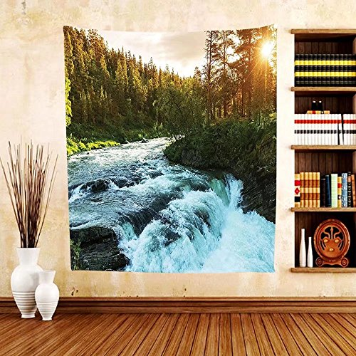 Gzhihine Custom tapestry Nature Tapestry Lake House Decor Stream Flowing in the Forest over Mossy Rocks Tree Foliage Splash Summertime Hiking View Bedroom Living Room Dorm Tapestry - Outlets Fl In Vero Beach